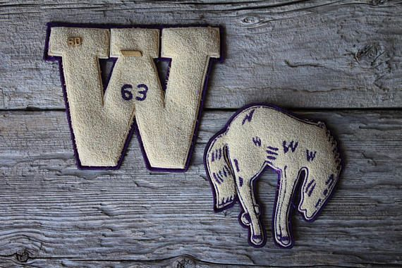 Woodlin Colorado Mustangs Chenille High School Letterman Patches 1963 Woodrow W