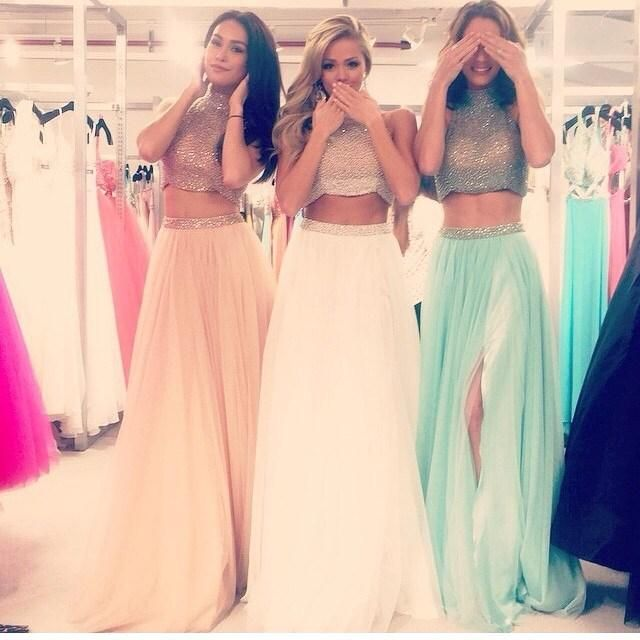 Charming Two Pieces Prom Dresses, Mid Section Prom Dresses,High Neck Pink Prom Dress,White Evening Gowns, Front Split Graduation Dress