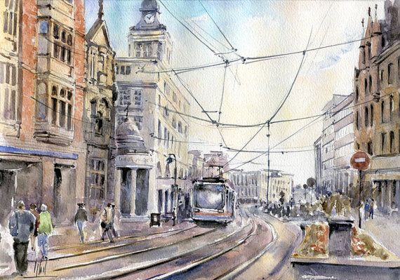 #Watercolour  #Sheffield #England by ARTENDE on Etsy