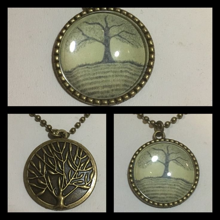 Brass Tree of Life Pendants now in store. These feature an original drawing by me set under a glass dome. On the reverse side is a lovely brass tree of Life. They come complete with a brass ball chain. An original unique necklace designed by me.