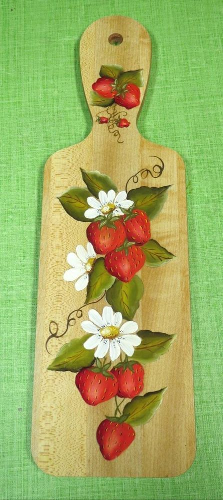 """Vintage STRAWBERRIES and DAISIES Hand Painted Wood Decorative 14"""" Plaque"""