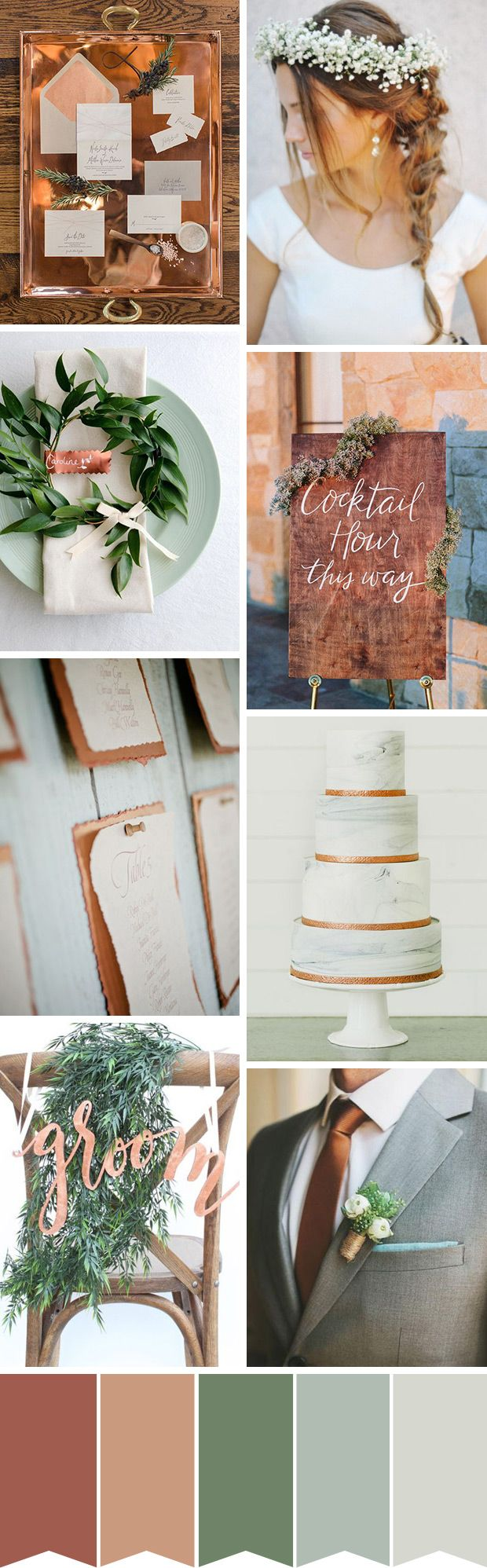 A chic organic copper and green wedding color palette | Autumnal  Wedding Inspiration