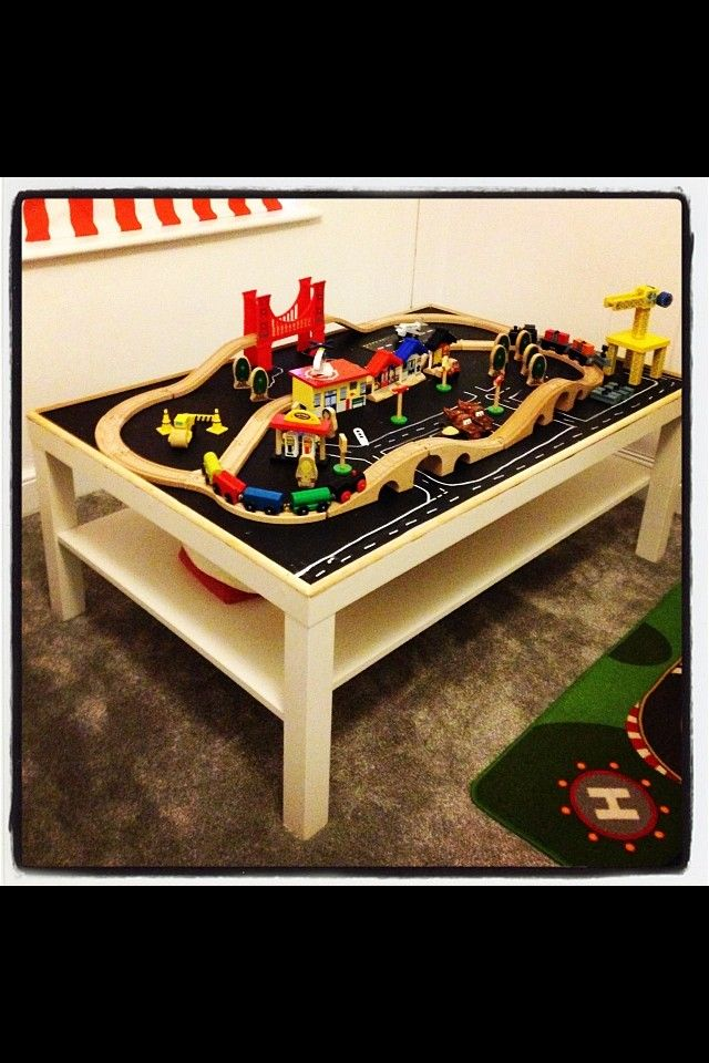 Ikea hack train and car table---no spending hundreds of dollars on those super expensive car tables! LOVE!