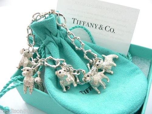 Tiffany Amp Co Silver Blue Sapphire Dogs Poodle Westie Charm Bracelet Bangle Rare Poodles