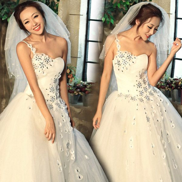 robe de mariée de seule épaule de diamant de princesse douce de dernière collectionde 9990