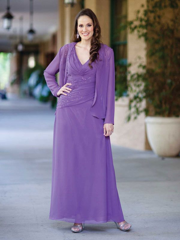 V-neck A-line with ruffle embellishment chiffon dress for mother of the bride