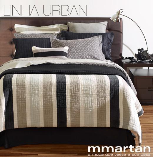 Para quem gosta de um estilo urbano e sofisticado! #listras #bedroom #cama #mmartan #stripes