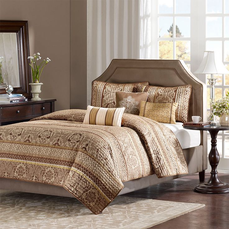 madison park bellagio 6 piece quilted coverlet set king browngold you can get more details by clicking on the image