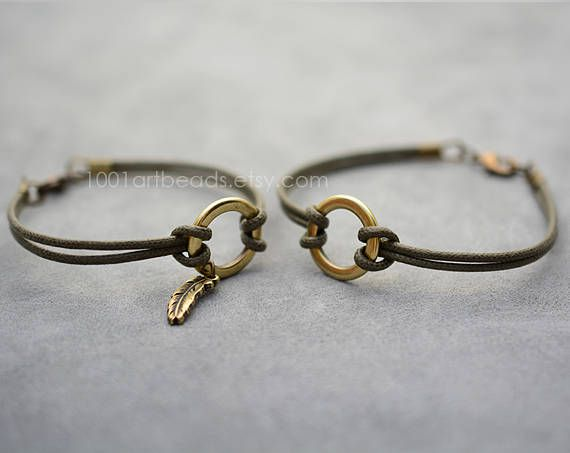This set of two simple cotton thin bracelets is a perfect gift for You and your girlfriend or boyfriend or as couples gift or as Long distance bracelet. This circle bracelets are suitable for everyday wearing. This matching couples bracelets are made of cotton cord and o-ring. Her his bracelets will be made personally for you according to your sizes from genuine Spanish leather and metal parts made in Europe. The price is for Set of 2 Bracelets. Sizes. Exact size: Please measure your…