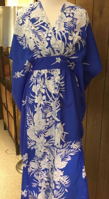 Vintage Sweethearts Hawaii Long Mumu Caftan Hawaiin Dress Blue White Floral | eBay