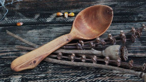 Graceful traditional wooden spoon in etno style decorated with hand carved ornament. Hand carved using only a hatchet, knives and gouges, without the use of any power tools. After carving, the spoon was rubbed with a food safe coating of bees wax. It is a beautiful, sturdy hardwood spoon and would be a great addition to any kitchen. It would make a stunning gift for any special occasion such as a wedding, engagement, or anniversary.  The spoon is approximately 18 cm long.  Remember! After…