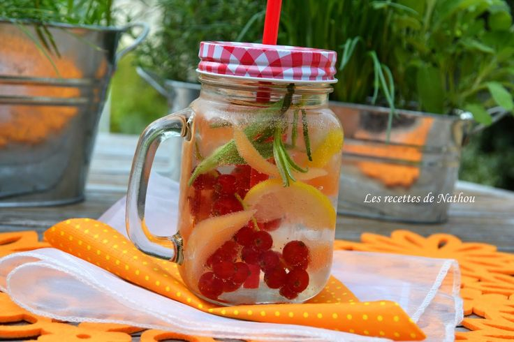 Les recettes de Nathou: Eau aromatisée au melon, groseilles rouges et citron (Detox water)
