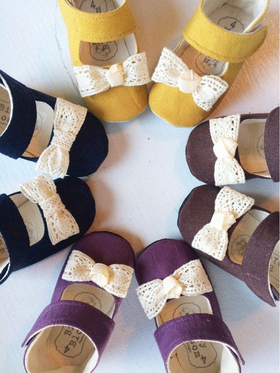 Baby Shoes Infant Girl Shoes Baby Booties Newborn Girl Shoes Crib Shoes  Mustard Baby Shoes Linen