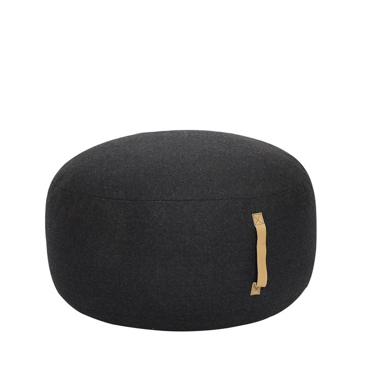Wool pouf with leather strap. Product number: 709006 - Designed by Hübsch