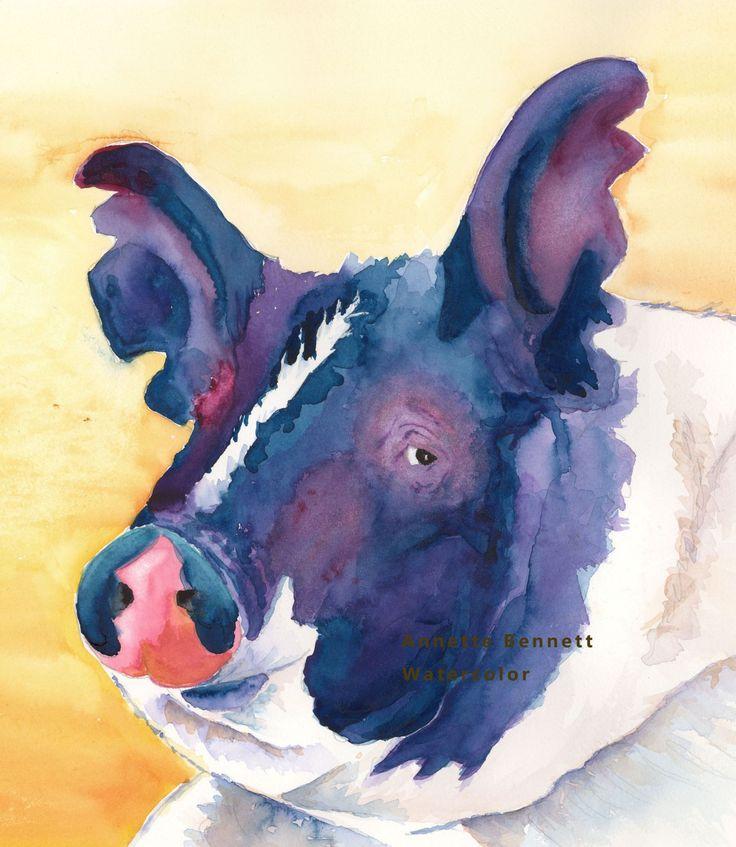 pig hog farm animal black white face watercolor farm animal art original print western by AnnetteBennett on Etsy