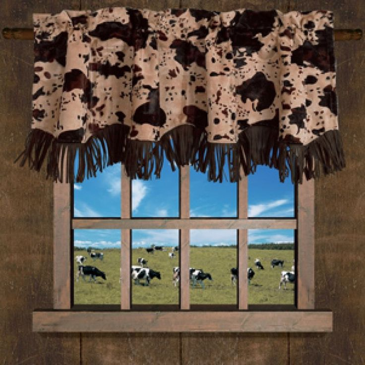 $43.95 Caldwell Faux Cowhide Valance by HomeMax Imports | Rustic Valance
