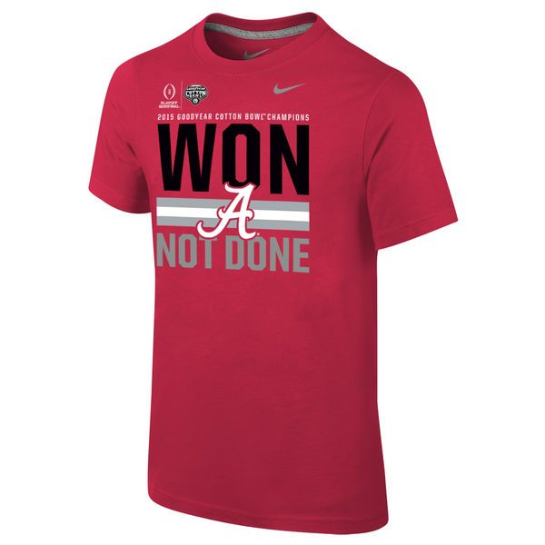 Alabama Crimson Tide Nike Youth College Football Playoff 2015 Cotton Bowl Champions Locker Room T-Shirt - Crimson - $18.99