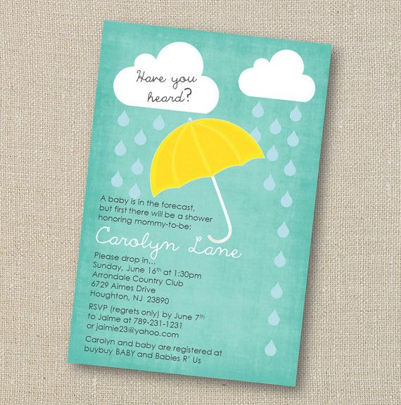 Rain and Showers Baby Shower Invitation - Umbrella Sprinkle Digital Printable File