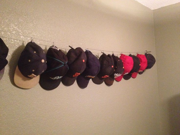 Display Rack For Baseball Hats Cases Caps Hat Cable Clipped Boys Room Wall