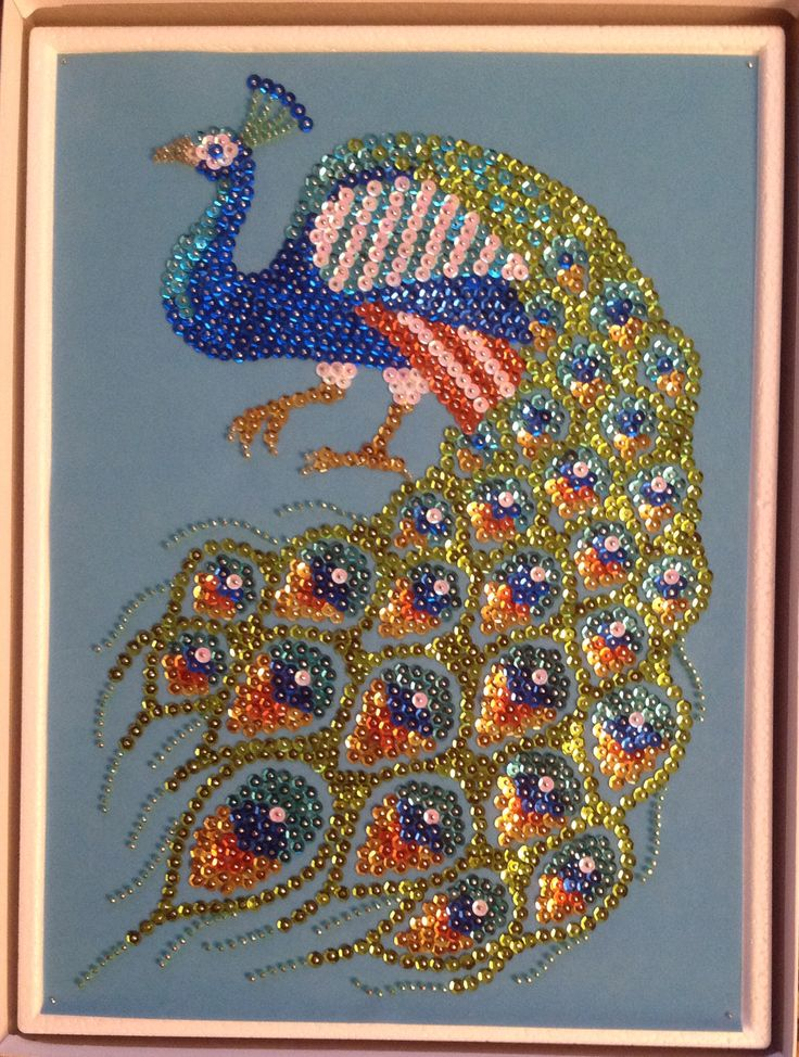 Sequin Art peacock with beads. 2015.