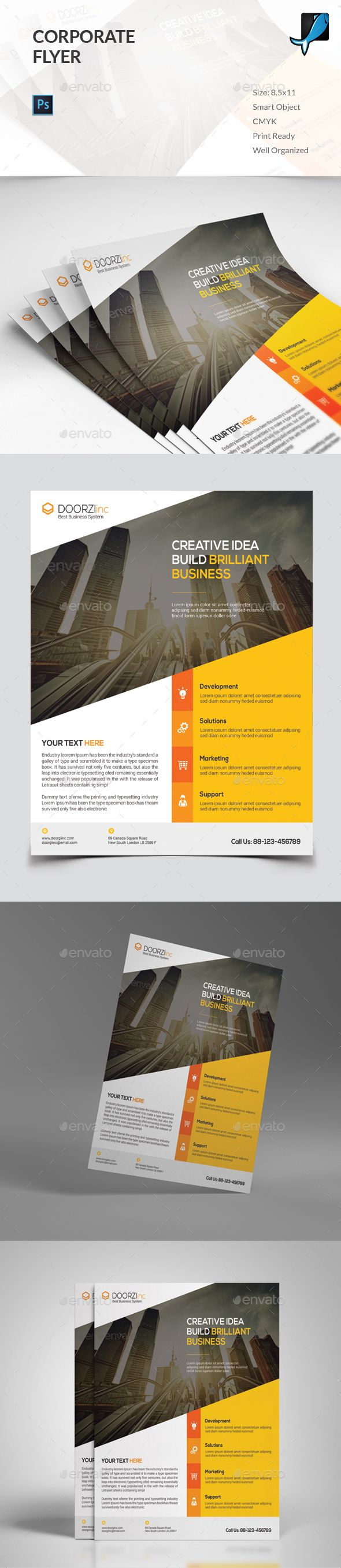 Corporate Flyer Template PSD #design Download: http://graphicriver.net/item/corporate-flyer/13578914?ref=ksioks