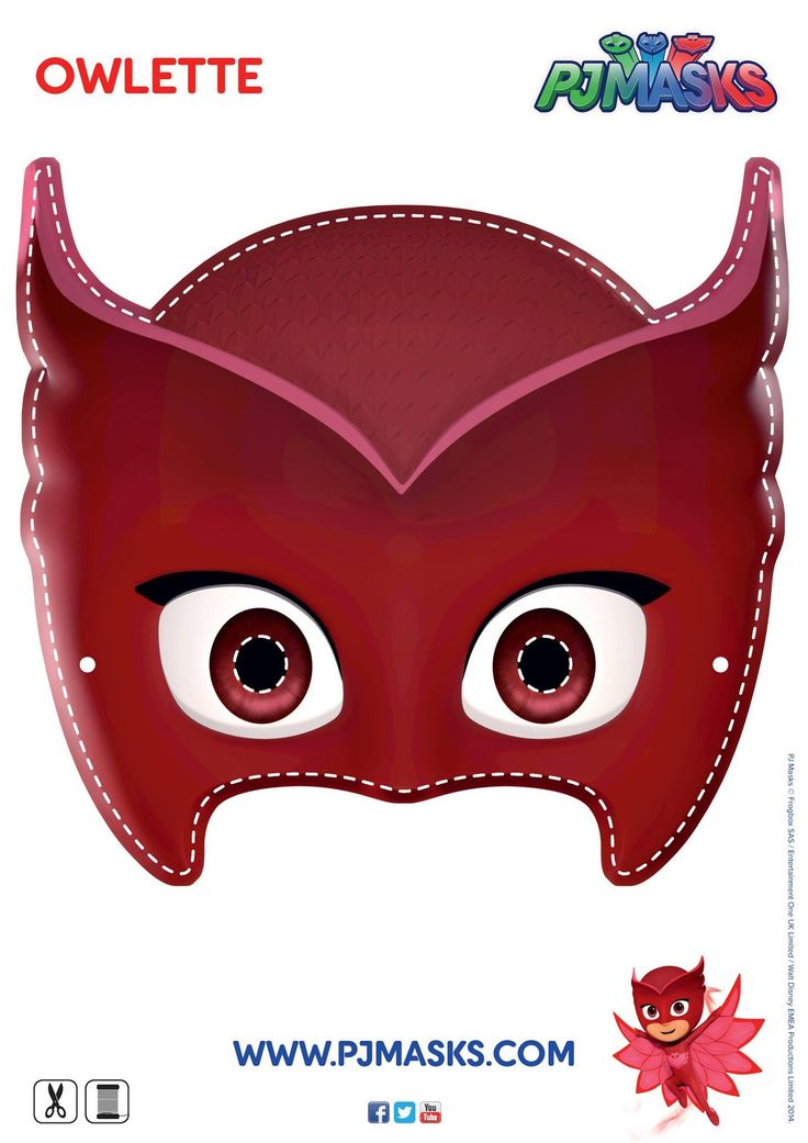 PJ masks Owlette character mask template... Make your own Owlette, Catboy, Gecko masks - All character templates available at http://pjmasks.co.uk/make - Use as a a favor or activity for kids at the party.