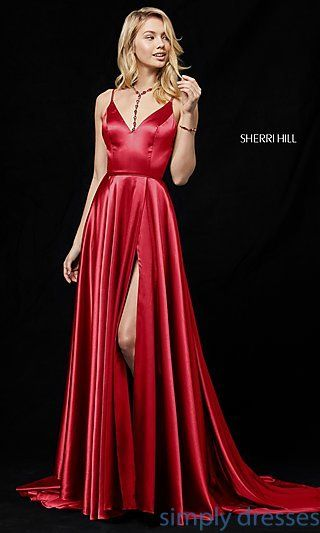 8563c7eabc88 Long V-Neck Sherri Hill Prom Dress with Slit in 2019 | nightving ...
