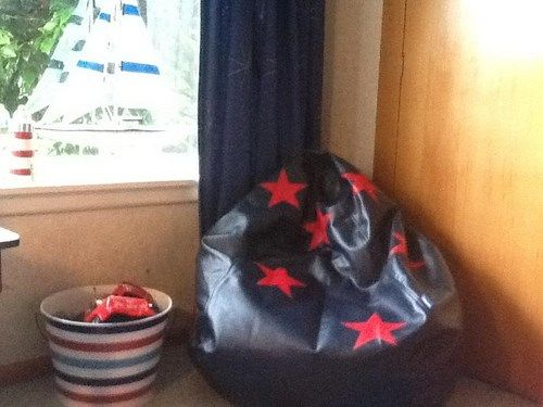 Mary really likes the blue / red star bean bag in her boys room