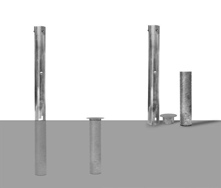 Umbrella Stand Hardware: Features: -In-ground Mount, Galvanized Steel And Aluminum