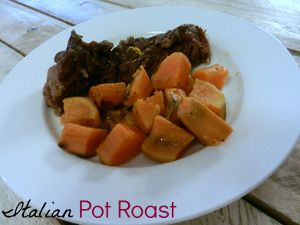 This easy pot roast recipe is simple yet hearty. Hope's Italian Pot Roast is bursting with great beef flavor and tender chunks of sweet potatoes. The roast is seasoned with Italian seasoning and garlic.
