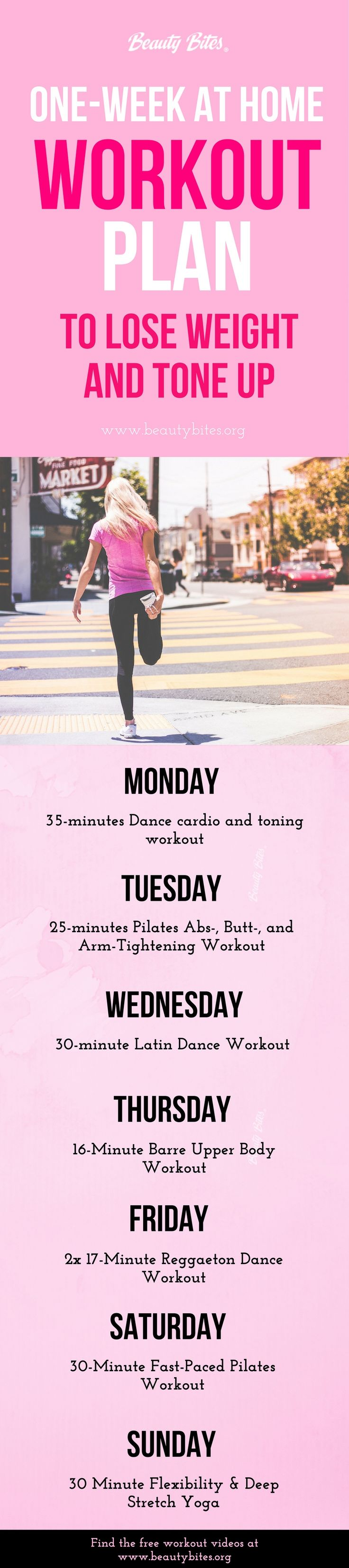 The videos in this workout plan for fat loss are challenging, but also a lot of fun! If you're looking for a free and FUN weekly workout plan to lose weight and get toned at home, you need to try this! There are dance workouts, pilates & barre exercises + yoga stretching routine.  Healthy Recipes | Healthy Habits | Workout Plans For Beginners | Weight Loss Tips