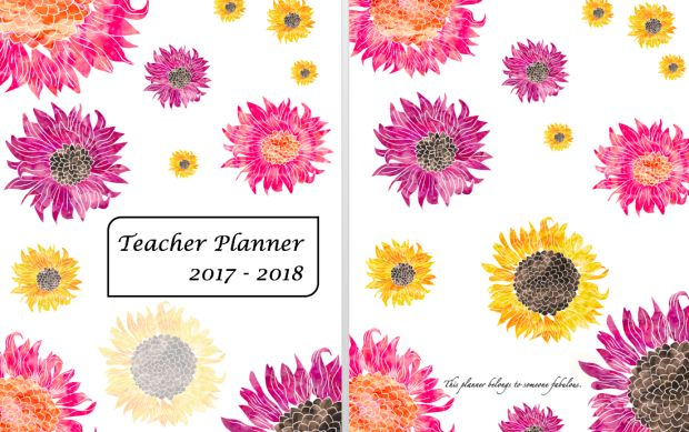 Free Teacher Planner 2017-18  Flower print