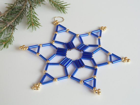 blue Christmas ornament star made from seed beads for Christmas decoration, gift tag or tree ornament made from glass beads and wire