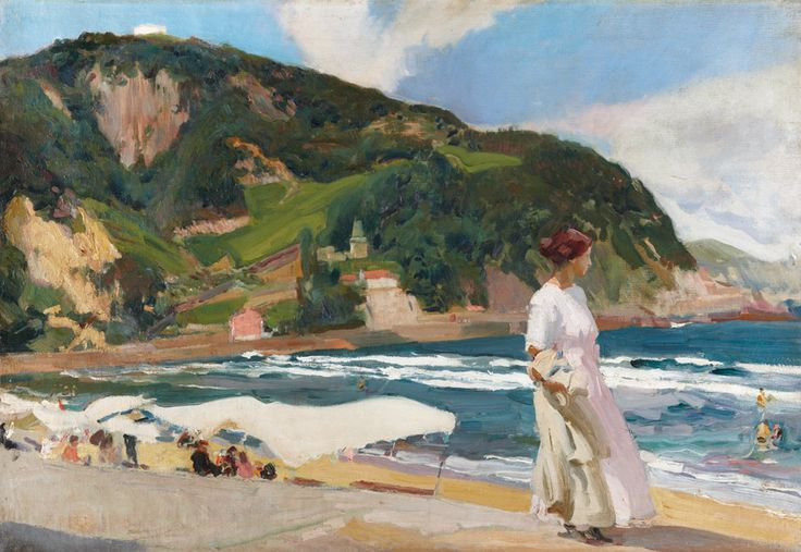 thunderstruck9: Joaquín Sorolla (Spanish, 1863-1923), María en la playa de Zarautz [Maria on the beach at Zarautz], 1910. Oil on canvas, 65 x 92 cm.via amare-habeo