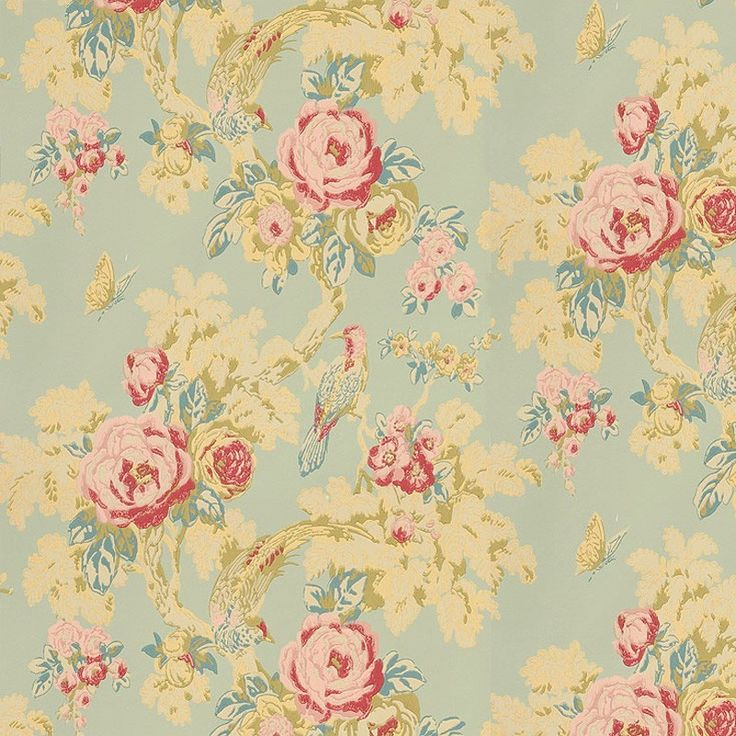 duck egg blue wallpaper | This is a classical inspired design with a delicately, hand-drawn ...