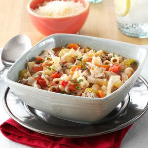 Slow Cooker Pasta E Fagioli - lean ground beef - medium onion - 32 oz. chicken broth - 2 cans diced tomatoes - 15 oz. cannellini beans - carrots - cabbage - celery - fresh or dried basil - 2 garlic cloves -ditalini or other small pasta - parmesan cheese