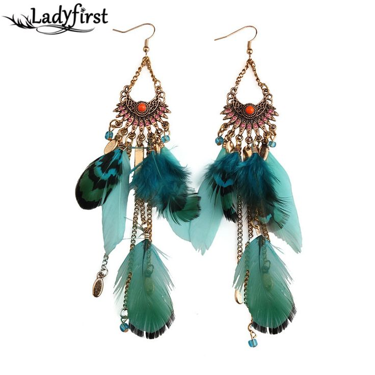 Long Tassel Fashion Feather Style Ethnic Boho Big Dangle Statement Earring Wedding Earrings Accessories 3494
