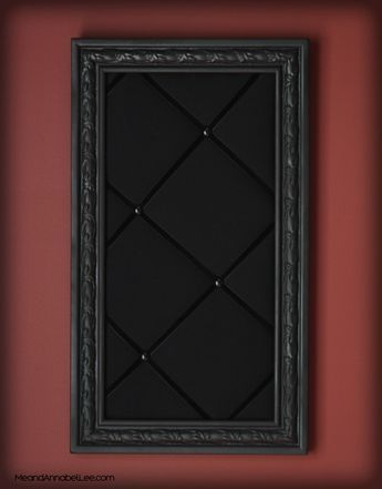Gothic DIY Upholstered Memo Board - Goth It yourself - how to - cork board - Victorian Pin Board - Fabric Bulletin board - Goth Home Decor - All Black Pinboard -www.MeandAnnabelLee.com