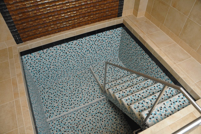 i wonder what happened here.  the inside tile is so ugly and the surrounding deck is so nice.: Inside Tile, Surroundings Decks, Renovation Mikvah