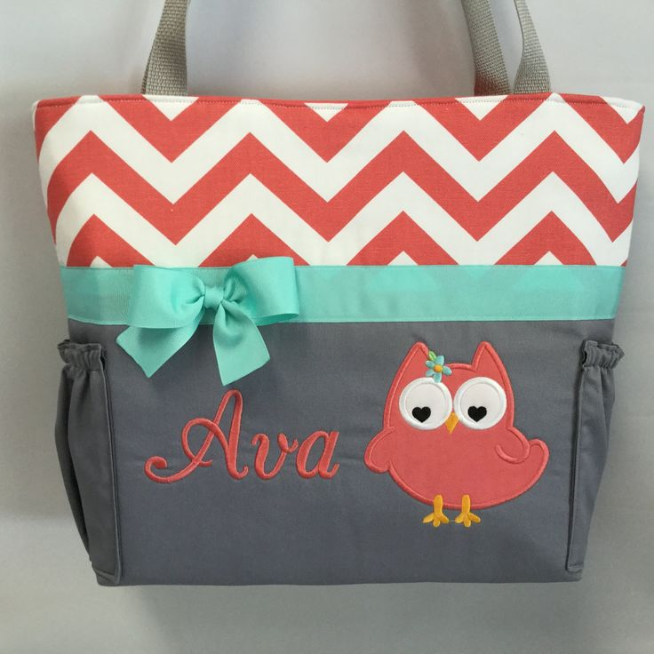Coral CHEVRON  ... Olivia OWL .. Diaper Bag .. Appliqué  ... Bottle POCKETS ..  Personalized Free by TweedleTotes on Etsy