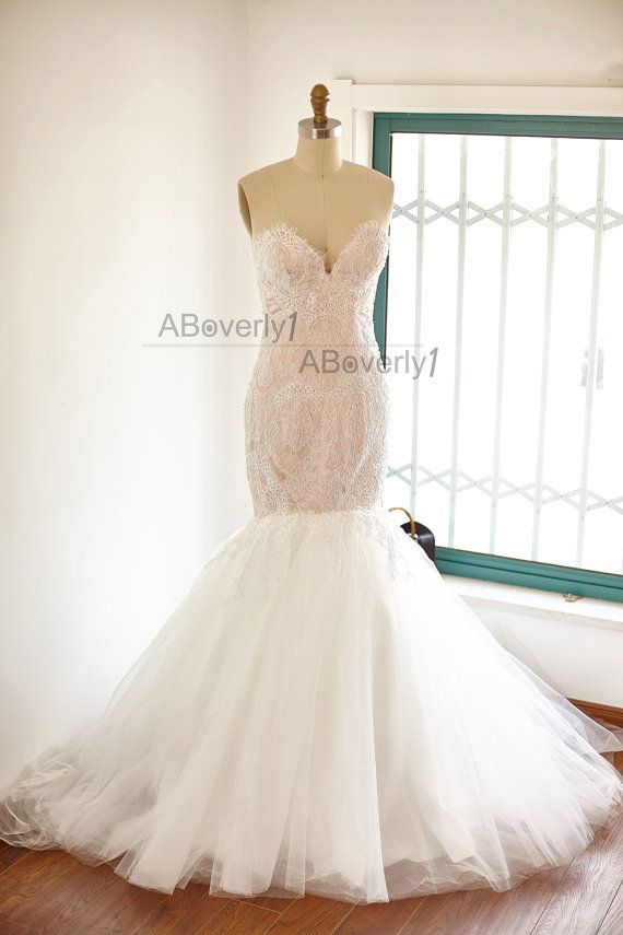 Beaded Mermaid Lace Tulle Wedding Dress Bridal Gown by ABoverly1