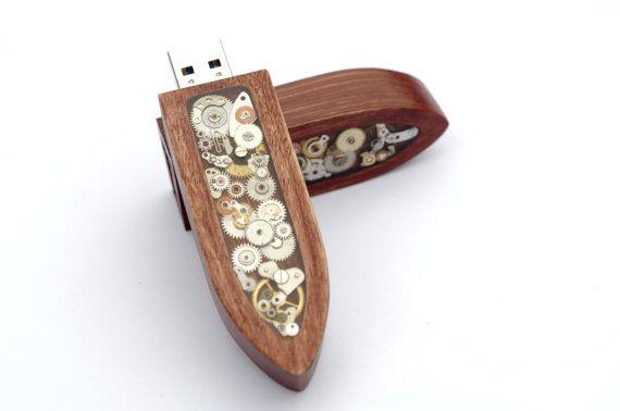 Steampunk USB flashdisk wood  clockwork  flash by SteamCookies