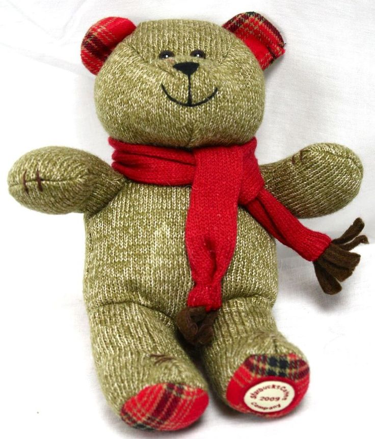 "Starbuck's 2009 Bearista Bear 9"" Brown Knit Plaid Paw Pads"