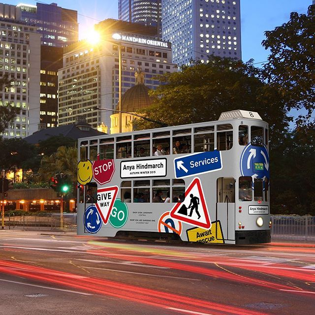 The #AnyaHindmarch #AW15 #StickerSHOP tram arrives in #HongKong @chaosfashion