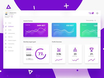 Dashboard for Digital Cash user
