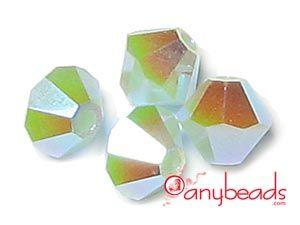Mint Alabaster AB2X - Austrian Swarovski Crystal Elements 5301/5328 Xilion Bead Bicones 4mm