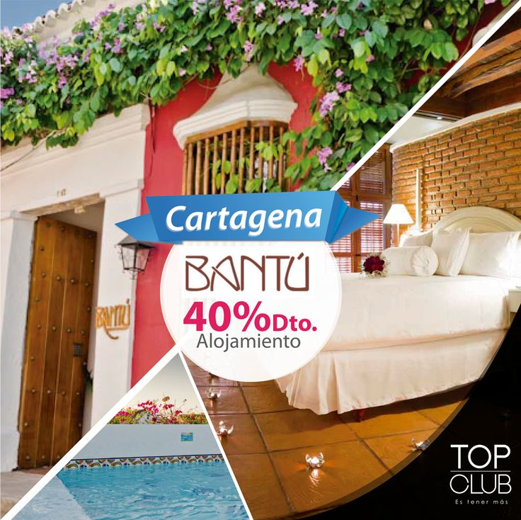 Si te gusta la tranquilidad y el buen servicio el Bantú Hotel Boutique es la mejor alternativa para disfrutar en Cartagena, llámanos, realiza tu reserva y disfruta el 40% de descuento en alojamiento. (Válido para afiliados TopClub).