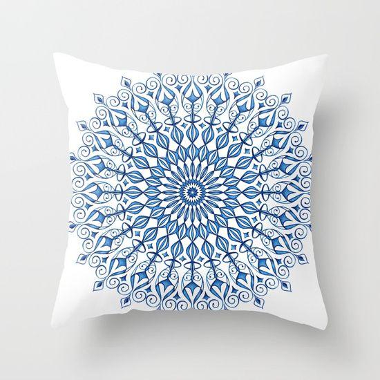 Blue Mandala Throw Pillow #homedecor #mandala #blue #watercolours #deco #pillow #art #cushion #society6 #geometric #artprint