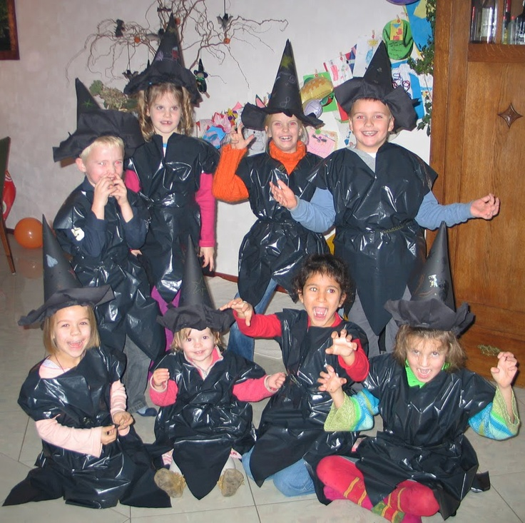 Kinderfeestjes: Heksen-knutselfeestje; zelf kleding maken van vuilniszakken.