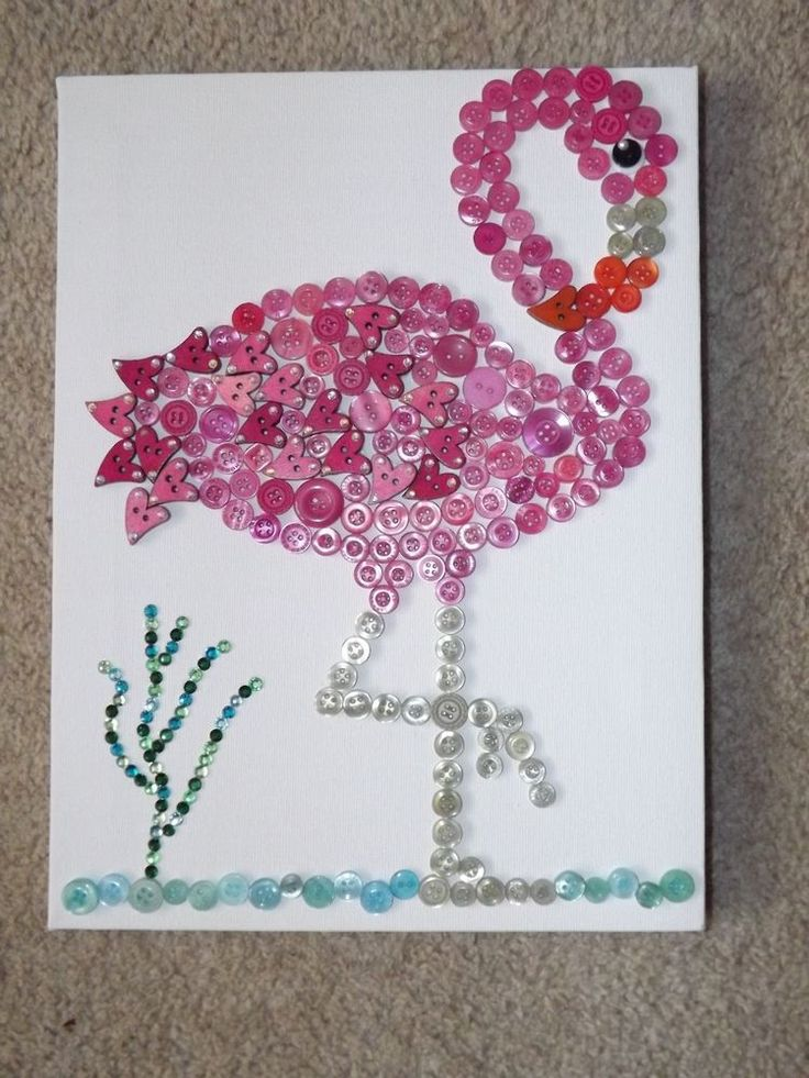 Flamingo Canvas, handmade with buttons and crystals. Size 12 x 9in. Pink, multi